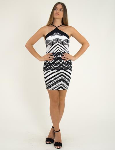 Γυναικείο Φόρεμα Cocktail Ασπρόμαυρο 013800002 d36e1b1295b