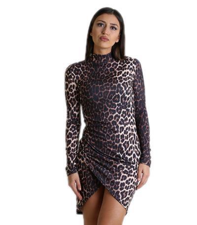 Ασύμετρο εφαρμοστό φόρεμα ζιβάγκο (Λεοπάρ) efc17a8536d