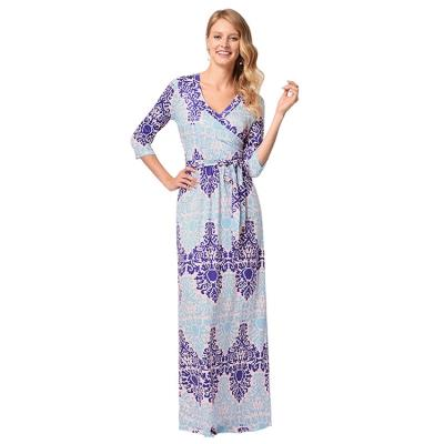 a61fbc8a590e Woman Summer 3 4 Sleeve V Neck Geometry Print Swing Sash Maxi Dress