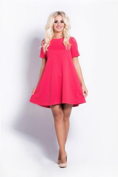 e8f03f5e3b08 Ριχτό κοντομάνικο μίνι φόρεμα - Φούξια