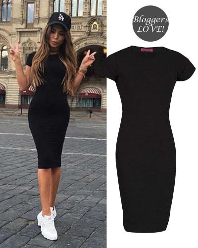 8b855750e727 basic allday viscose φόρεμα σε μαύρο