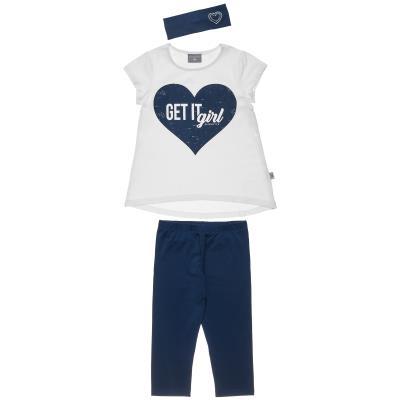 621e5c22b55 Σετ μπλούζα με στάμπα καρδιά με κολάν & κορδέλα (6-16 ετών) 00970386 ΛΕΥΚΟ