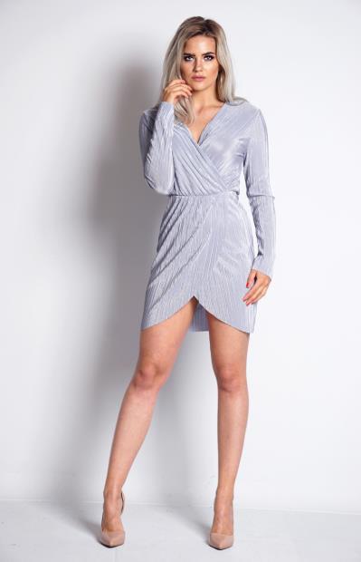 7a202e9b0602 Φόρεμα μίνι κρουάζε με μανίκι και άνοιγμα στο κάτω μέρος - Γκρι