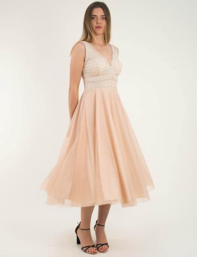 f41965405a0a Γυναικείο μπεζ μάξι φόρεμα δαντέλα τούλι Benissimo 92029