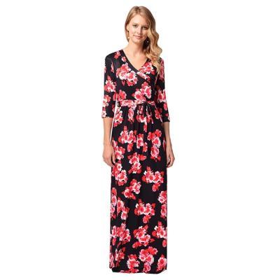 dc18f5c48d56 Woman Summer 3 4 Sleeve V Neck Flower Print Swing Sash Maxi Dress