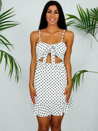 3cce977a7a68 Φόρεμα κοντό πουά ασπρόμαυρο με φιόγκο