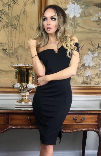Φόρεμα μίντι με ελεύθερους ώμους και V - Μαύρο. Άμεσα διαθέσιμο.  fashioneshop.gr ... a6fb07c2343