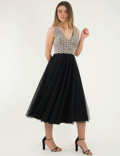 1a19e7228a8 Γυναικείο μαύρο μάξι φόρεμα δαντέλα τούλι Benissimo 92029L
