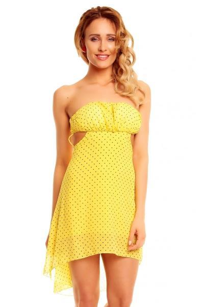 322a52bfc474 Ασύμμετρο στράπλες μίνι φόρεμα με πουά σχέδιο - Κίτρινο