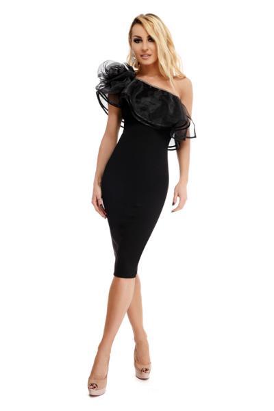 9243 RO Κομψό μίντι φόρεμα με έναν ώμο και βολάν οργαντίνας - Μαύρο 1343d73b6f8
