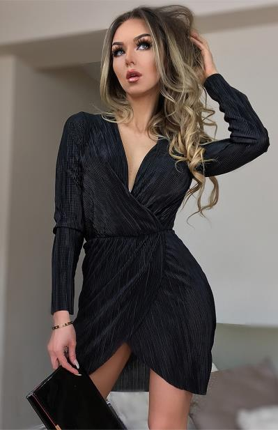 6691b016255a 148C Μακρυμάνικο Wrap Μίνι Φόρεμα Μαύρο