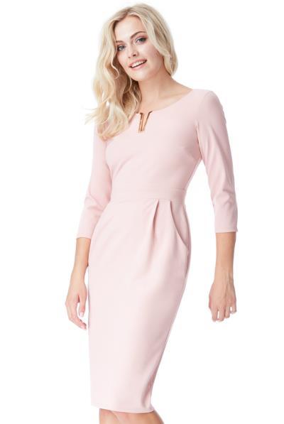 Φόρεμα μίντι με μανίκι V και σούρες στην μέση - Ροζ Ανοιχτό f28041bd0a0