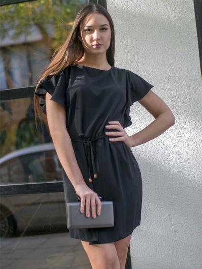 Φόρεμα κοντό με βολάν στα μανίκια μαύρο 20ff64d117c