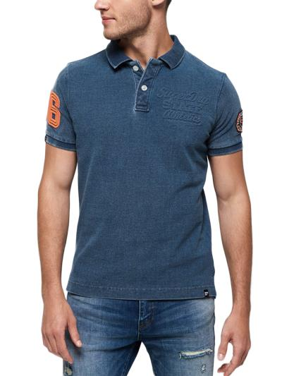 T-shirt Superstate Pique Polo Superdry Μπλέ 5519180008Ε 36aee897b22