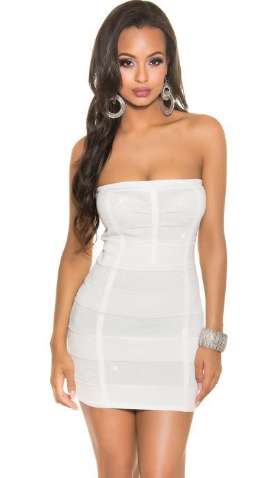 11aa69f8a543 109N-4 Πλεκτό Μίνι Φόρεμα με σχέδιο glitter Λευκό