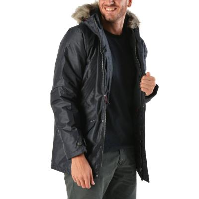 Basehit Men s Ηooded Jacket With Det ble Fake Fur 172.BM10.16 - NAVY 1bad9ddde3b