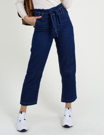 Γυναικείο μπλε ψηλόμεσο τζιν παντελόνι με ζώνη WL19077 b83b0db06b3
