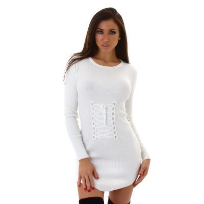 dd1133dec0b9 61151 LX Μίνι φόρεμα Μακρύ πουλόβερ - άσπρο