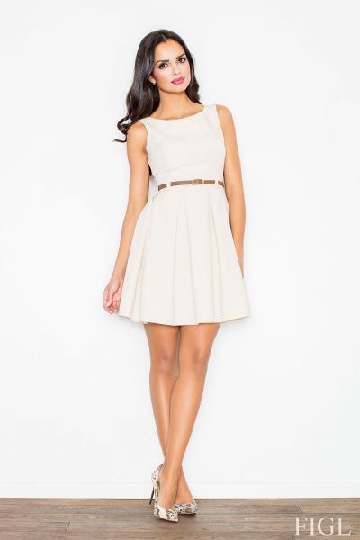 04b8d2bf3b11 Κλος μίνι φόρεμα με πιέτες και ζωνάκι - Μπεζ