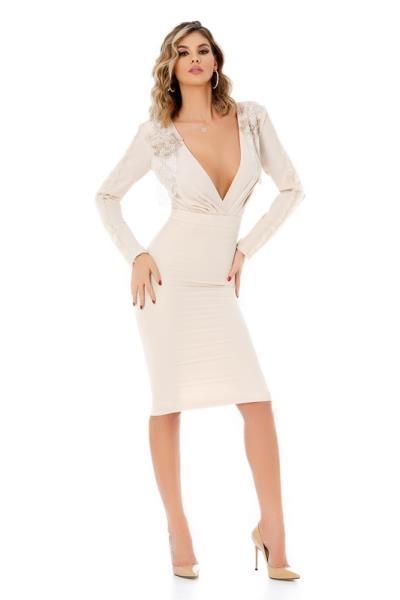 c0bc140aaefd 9317 RO Κομψό μίντι φόρεμα με βαθύ ντεκολτέ - Μπεζ