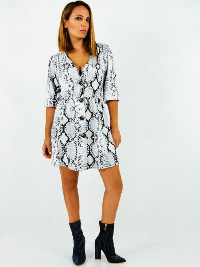 13ff99a65325 Φόρεμα κοντο ασπρόμαυρο φιδέ με κουμπιά