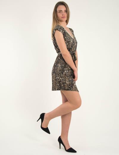 7b83fc8016a Γυναικείο μαύρο λεοπάρ αμάνικο φόρεμα με ζωνάκι 1175826