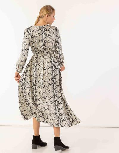 85db17c0fdb6 Maxi snake print φόρεμα με μακριά μανίκια και λάστιχο στη μέση