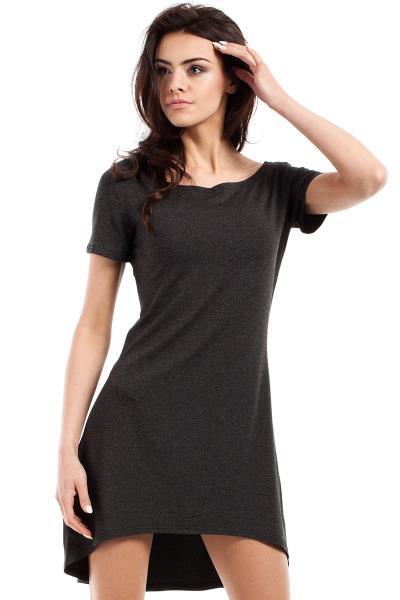 Κοντομάνικο ασύμμετρο μίνι φόρεμα - Σκούρο Γκρι a243bae6438