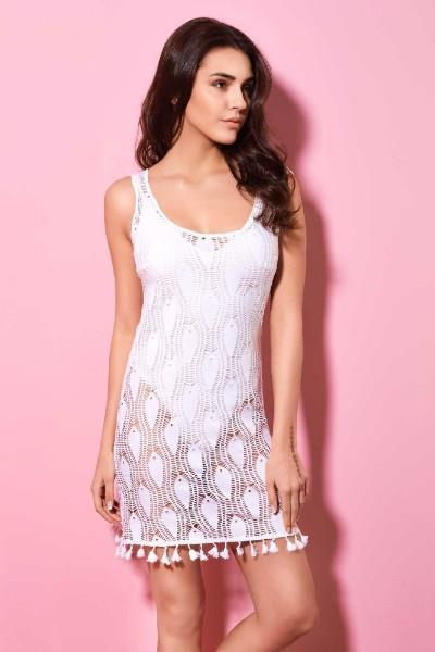 926074eb6152 Φόρεμα Παραλίας Κοντό Δαντέλα Milena - Λευκό