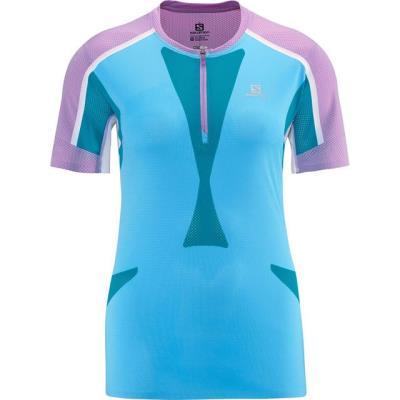 f9b6de44f139 Γυναικεία αθλητική μπλούζα κοντομάνικη Salomon Skin Fit Tee W Score Blue  Μπλε Sa