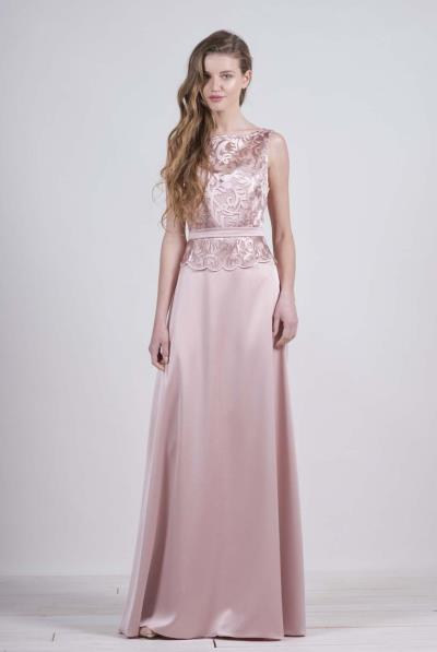 b9eb4639ca08 Φόρεμα μάξι μπούστο δαντέλα κρεπ φούστα βε πλάτης - 17135