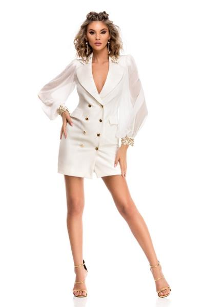 05384229fe4a 9319 RO Κομψό μίνι φόρεμα με διαφανεια στα μανίκια - Ασπρο