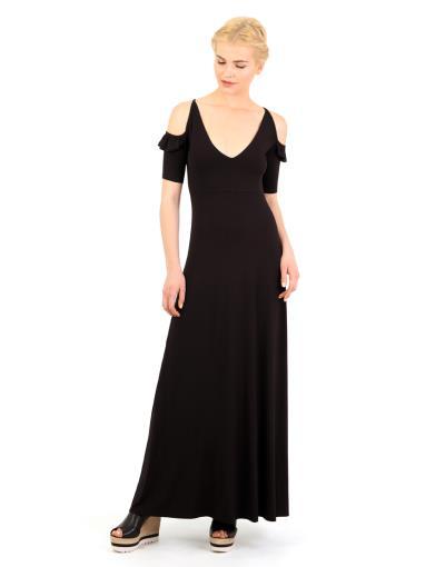 ae0ca60b70a2 Μάξι φόρεμα με ανοιχτή πλάτη και V λαιμουδιά