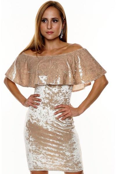 Βελούδινο μίνι φόρεμα με ελεύθερους ώμους - Μπεζ Χρυσό. Άμεσα διαθέσιμο.  fashioneshop.gr ... 5788b30bb2a