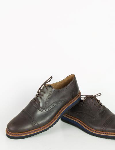 Ανδρικά Oxford δερμάτινα παπούτσια Nice Step καφέ 752C f4c25eb087c