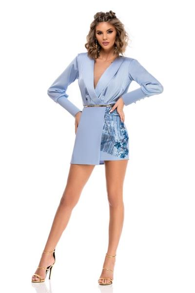 7a8496d6e457 9321 RO Ιδιαίτερα θυληκό μίνι βισκόζ φόρεμα - Γαλάζιο