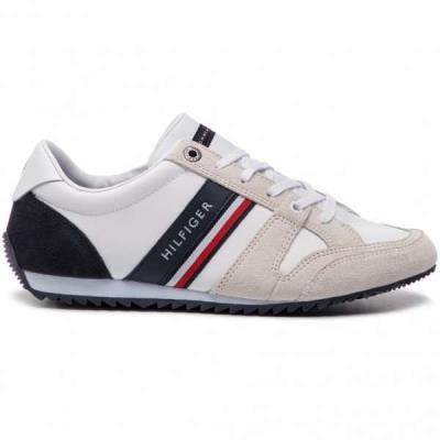 295dc95ebc0 Tommy Hilfiger Essential Leather Runner FM0FM02045 RWB 020 Λευκά Ανδρικά  Sneaker