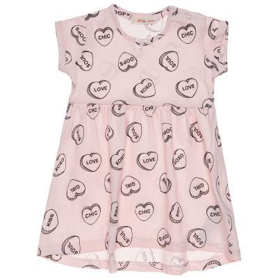 Φόρεμα με κοντό μανίκι και μοτίβο καρδιές (12 μηνών-3 ετών) 00241263 ΡΟΖ e1f7d4dd069