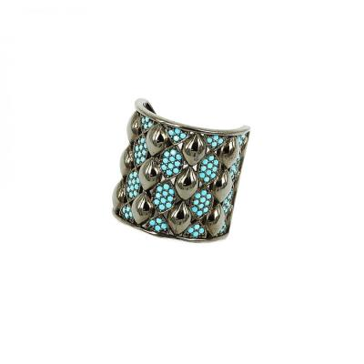 Δαχτυλίδι από ασήμι 925 με μαύρη επιμετάλλωση και τιρκουάζ 004905 b3c87886656