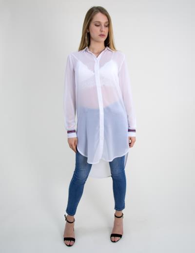 Γυναικεία πουκαμίσα μακρυμάνικη Noobass λευκή ασύμμετρη B152BL dcfab68e8ab