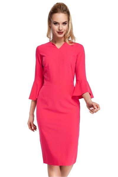 Μίντι φόρεμα με μανίκια καμπάνα - Ροζ 91ddfba7acc