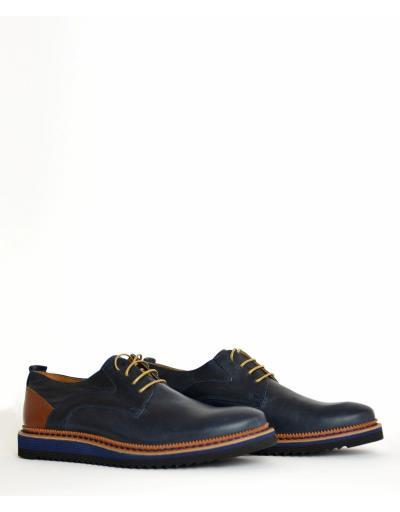 Ανδρικά δερμάτινα παπούτσια Nice Step μπλε δετά 751R 5b1777372e8