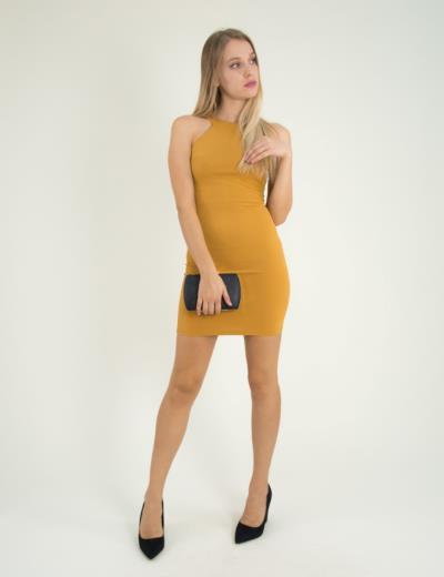 Γυναικείο ώχρα ελαστικό φόρεμα Cocktail 014100001G 9d8709d39aa