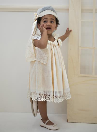 d95d6bb8382 Φόρεμα Βάπτισης Babybloom Από Δαντέλα Με Λουλούδι Κωδ:11976