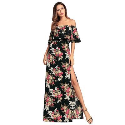 f34c1b7742db Woman Summer Flower Print Sexy Off Shoulder Side Split Maxi Dress Black