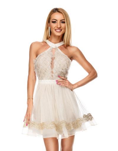 ee092f939b1e 9190 RO Βραδινό μίνι φόρεμα με glitter - μπέζ χρυσό