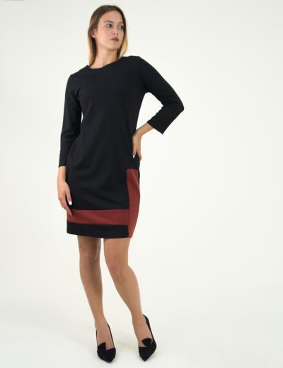 6c9a93b7e0e0 Γυναικείο μαύρο κοραλί φόρεμα σε άλφα γραμμή UK30028