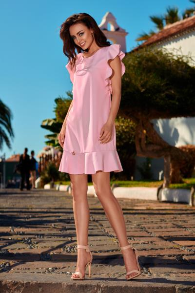 Φόρεμα μίντι κοντομάνικο με άνοιγμα στον λαιμό - Ροζ Ανοιχτό f83891aa4af