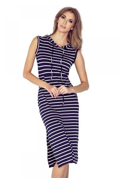 Ριγέ μίντι φόρεμα με κουκούλα - Σκούρο Μπλε Άσπρο. Άμεσα διαθέσιμο.  fashioneshop.gr ... 34579a4ce89