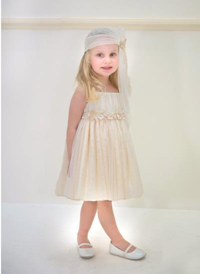 b0b689f71a0 Φόρεμα Βάπτισης Μεσάτο Από Τούλι Και Δαντέλα Κωδ:11977